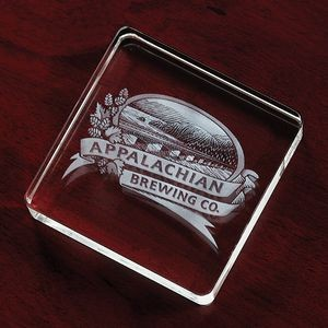 "Square Crystal Paperweight Award (3 1/8""x3 1/8""x3/4"")"