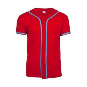 Full Button Baseball Jersey with Piping